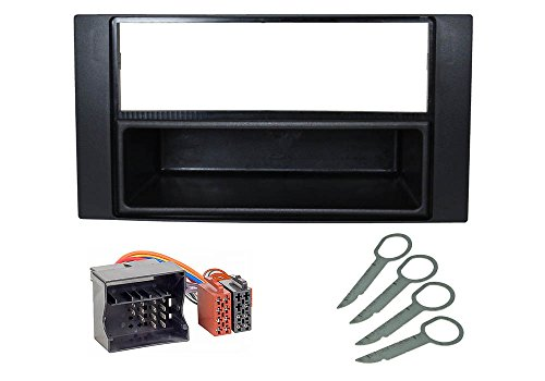 Audioproject A160 - Auto-Radio Einbau-Set kompatibel für Ford Focus 2 C-Max Transit Fiesta Fusion Kuga S Max Radio-Blende Radio-Adapter Entriegelungsbügel schwarz
