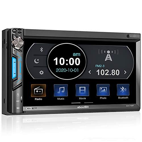 2 DIN Autoradio mit Mirrorlink für iOS/Android, Bluetooth MP5 Multimedia Car Player, 7 Zoll Touchscreen Bildschirm, AM/FM, Front- / Rückfahrkamera, AUX, SD, USB/Subwoofer, Lenkradsteuerung, 7 Farben