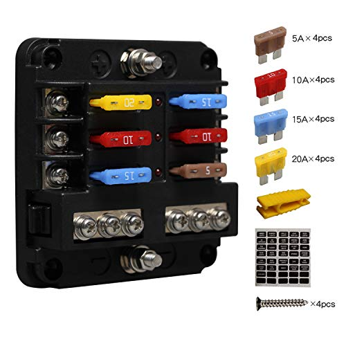 Kfz Sicherungshalter Flachsicherung, ENDARK Kfz Sicherungskasten, 6 Fach Sicherungshalter mit LED-Anzeige Negativen Bus für Auto, Boot, Van, Suv, LKW