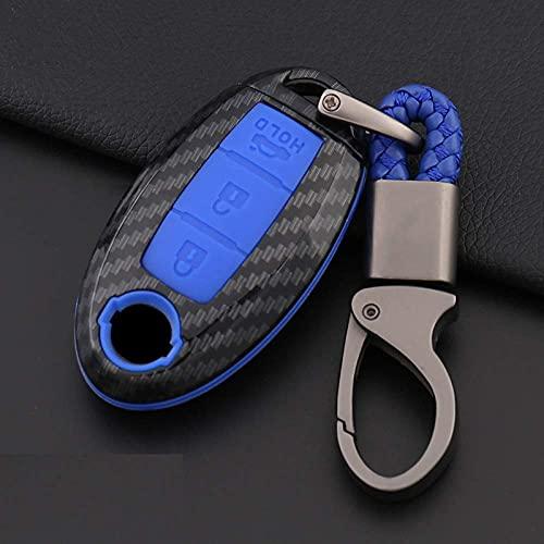 YAOBAOBAO Carbon Faser Shell Auto Remote Key Cover Fall, für Nissan Qashqai J10 J11 X-Trail Kicks Tiida Pathfinder Murano Note Juke C Carbon Blue