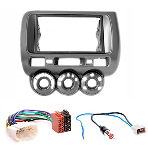 CARAV 11-464-12-2 Radioblende Car 2-DIN in Dash Installation kit Set for Fit, Jazz 2002-2008 (Manual Air-Conditioning) (Left Wheel) + ISO and Antenna Adapter Cable