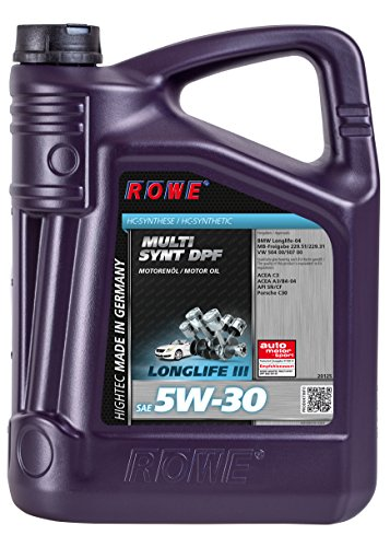 ROWE Hightec Multi Synt DPF 5W-30 PKW Motoröl vollsynthetisch (HC-Synthese), Made in Germany, 5 Liter