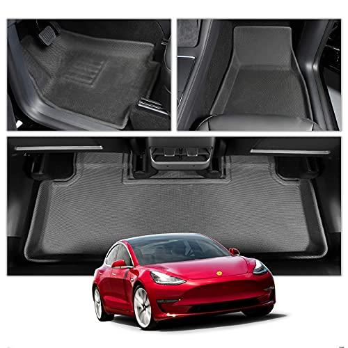 CDEFG Auto Fußmatten Fussmatten Wasserdicht Einfach zu Säubern für Tesla Model Y 2021 5-Sitzer Premium Allwetter matten vorn+hinten Matten 3D Zubehör