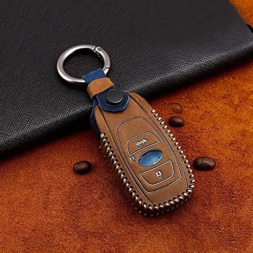 Zjxfff Leder Schlüsseletui mit Schlüsselring passend für Subaru Forester Sti-Brown